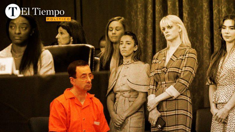 Aunque Nassar fue sentenciado a prisión en 2018, sus víctimas aprovecharon para testificar y reclamar la negligencia del sistema y las autoridades estadounidenses, que permitieron que la situación continuara muchos años después de la primera alerta en 2015. Diseño: Gabriela Navarro
